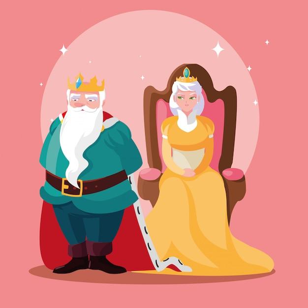 Król i królowa bajkowy magiczny awatar Premium Wektorów