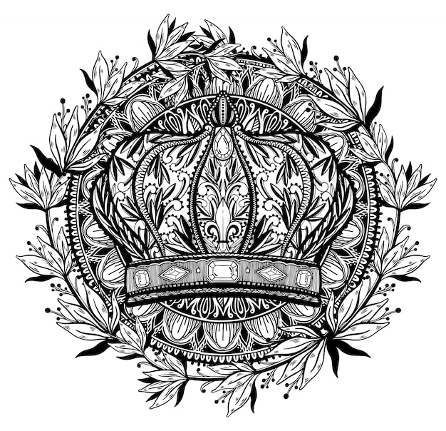Król Korony I Królowa Elegancki Rysunek Sztuki. Czarny Kolor W Białym Tle. Premium Wektorów