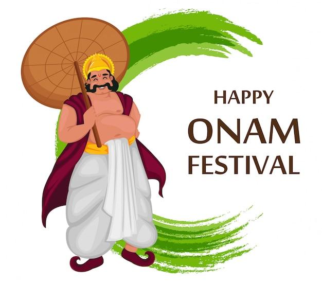 Król mahabali. festiwal happy onam w kerali Premium Wektorów