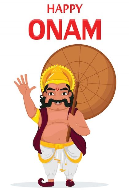 Król mahabali. szczęśliwy festiwal onam w kerali Premium Wektorów