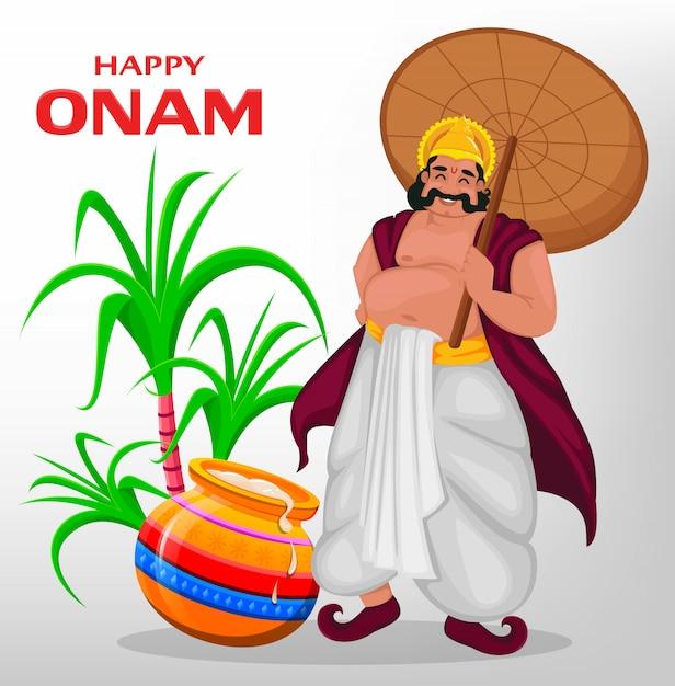 Król mahabali, szczęśliwy festiwal onam w kerali Premium Wektorów