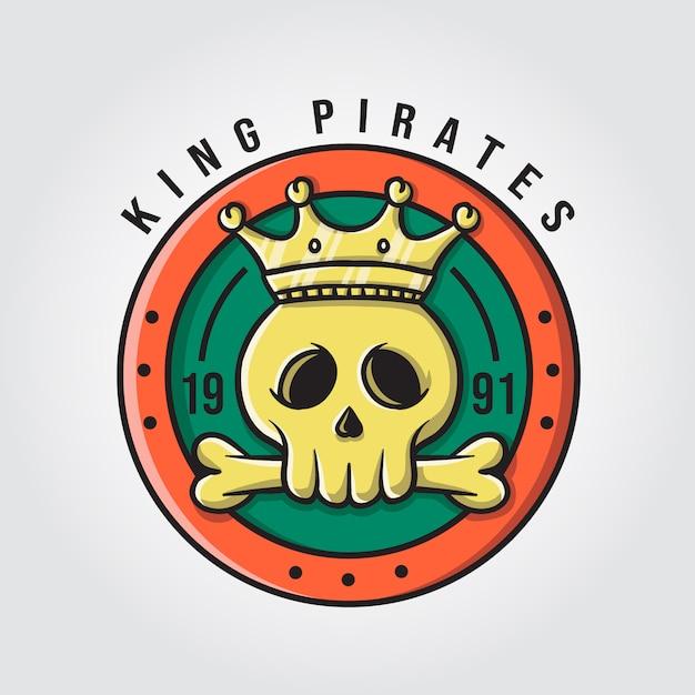 Król Piraci Z Logo Czaszki I Kości Premium Wektorów