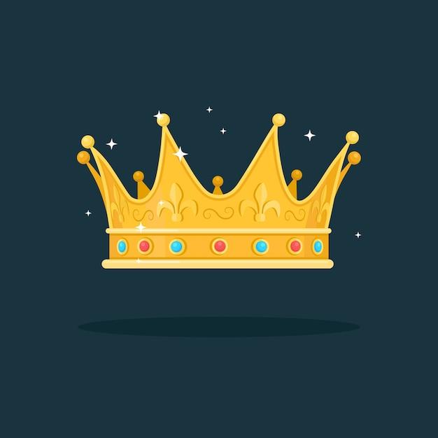 Królewska Złota Korona Dla Królowej, Księżniczki, Króla Na Ciemnym Tle. Nagrody Dla Zwycięzcy, Mistrzów, Koncepcja Przywództwa. Premium Wektorów
