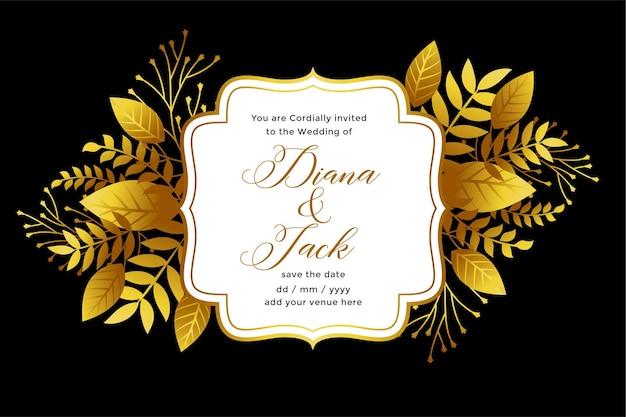 Królewski Złoty Szablon Zaproszenia ślubne Darmowych Wektorów