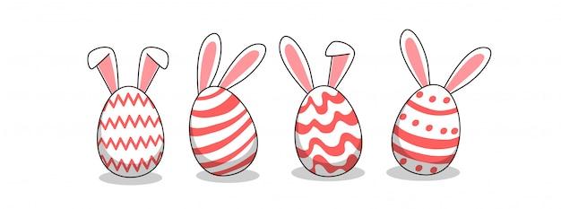 Królicze Jajka W Dzień Wielkanocy Premium Wektorów