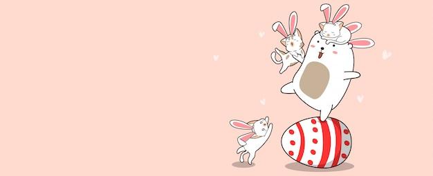 Króliczki Na Duże Jajko W Dzień Wielkanocy Premium Wektorów