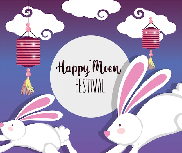 Królik happy moon festival Premium Wektorów