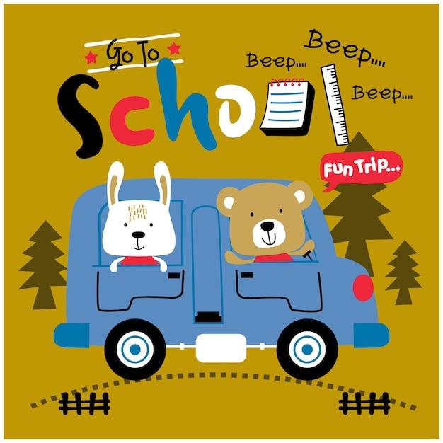 Królik I Niedźwiedź Wracają Do Szkoły Z Autobusem Zabawnej Kreskówki Zwierząt Premium Wektorów