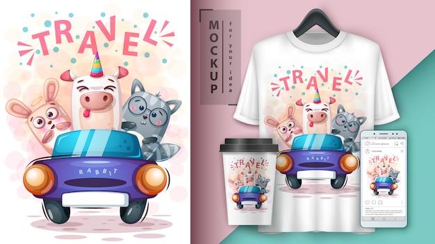 Królik, Kot, Ilustracja Jednorożca Premium Wektorów