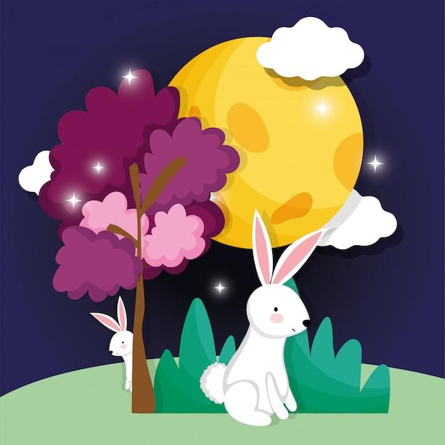 Królik szczęśliwy księżyc festiwal obrazu Premium Wektorów