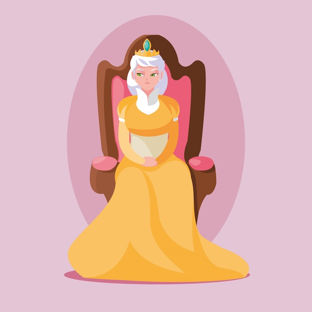 Królowa bajkowej magii siedząca na krześle awatara Premium Wektorów