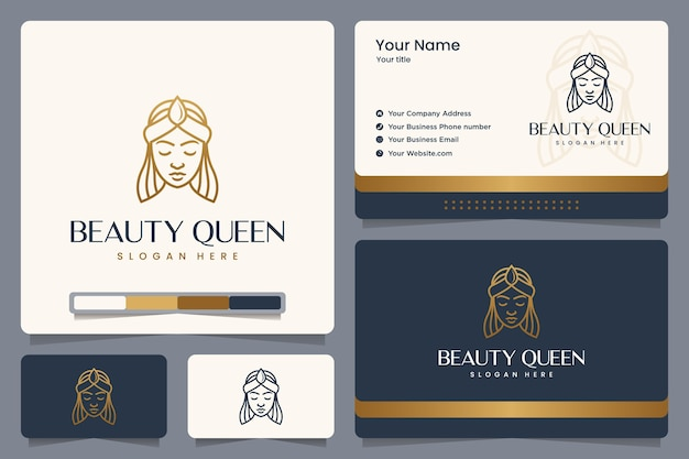 Królowa Piękności, Dziewczyna, Złoty Kolor, Styl Linii, Projektowanie Logo I Wizytówka Premium Wektorów
