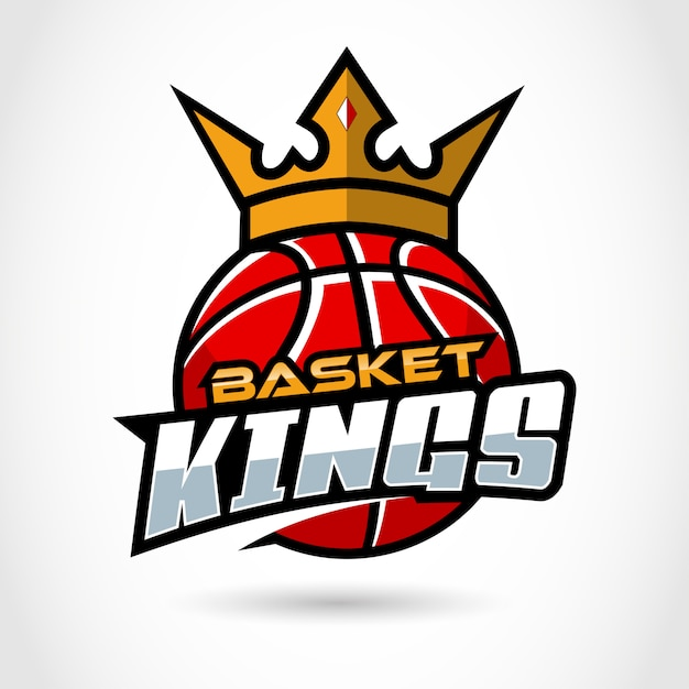 Królowie Koszy. Sport, Koszykówka Logo Szablon. Premium Wektorów