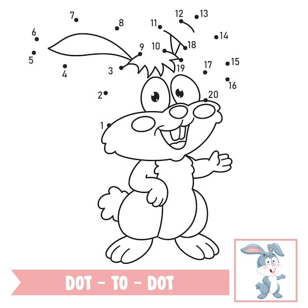Kropka-kropka Ilustracja Gry Dla Edukacji Dzieci Premium Wektorów