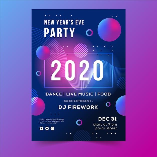 Kropki I Pęcherzyki Streszczenie Nowy Rok 2020 Ulotki Darmowych Wektorów