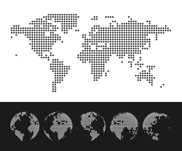 Kropkowana Mapa świata I Zestaw Globu. Ilustracja Premium Wektorów