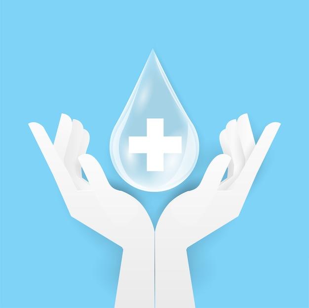 Kropla Alkoholu Lub Zupa Na Szczycie Dwóch Ludzkich Rąk, Umyj Rękę. Higiena Osobista, Opieka Zdrowotna, Ochrona Przed Chorobami Premium Wektorów