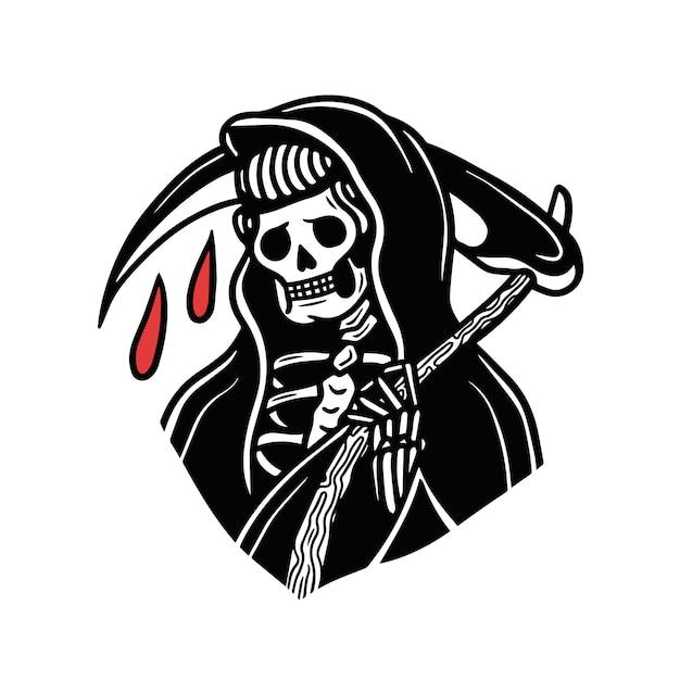 Krople krwi grim reaper old school tattoo Premium Wektorów