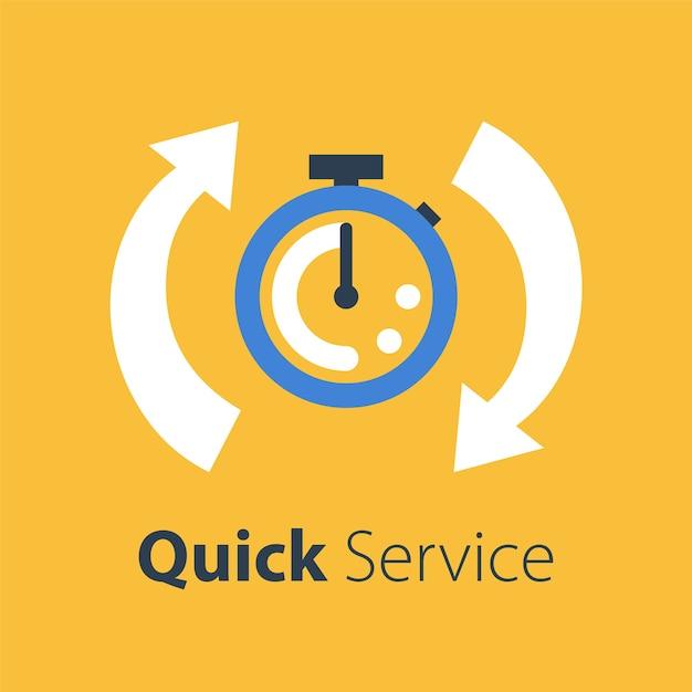 Krótki Czas, Szybkość Stopera, Szybka Dostawa, Usługi Ekspresowe I Pilne, Termin I Opóźnienie, Ikona, Ilustracja Premium Wektorów