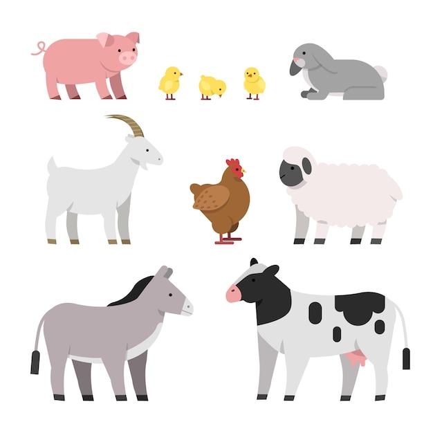 Krowa IKurczak, świnia IKura, Kogut IOwca | Premium Wektor