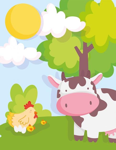 Krowa kurczaka i piskląt drzewa niebo zwierząt gospodarskich Premium Wektorów