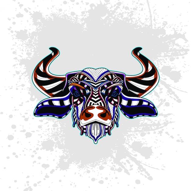 Krowa Z Abstrakcyjny Wzór Dekoracyjny Premium Wektorów
