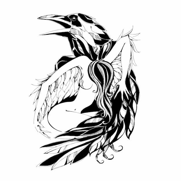 Kruk I Anioł Premium Wektorów