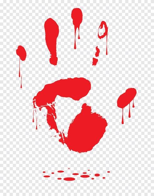 Krwawa Ręka Druk Odizolowywający Na Białym Tle. Horror Przerażające Krwi Brudne Handprint Premium Wektorów
