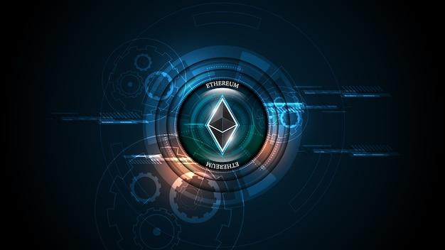 Kryptowaluta Blockchain Ethereum Koncepcja Technologii Połączenia Sieciowego Pieniędzy Cyfrowych Premium Wektorów