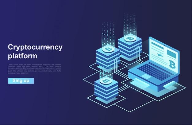 Kryptowaluta I Blockchain. Tworzenie Platformy Cyfrowej Waluty. Premium Wektorów