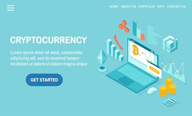 Kryptowaluta I Blockchain. Wydobywanie Bitcoinów. Płatność Cyfrowa Za Pomocą Wirtualnych Pieniędzy, Finansów. Izometryczny Komputer 3d, Laptop Z Monetą, Token. Projekt Banera Premium Wektorów