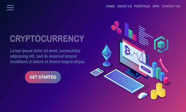 Kryptowaluta I Blockchain. Wydobywanie Bitcoinów. Płatność Cyfrowa Za Pomocą Wirtualnych Pieniędzy, Finansów. Komputer Izometryczny, Laptop Z Monetą, żeton. Premium Wektorów