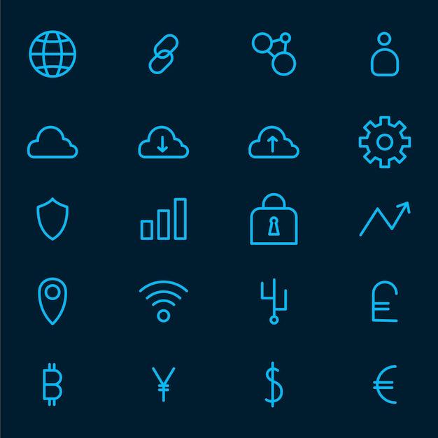 Kryptowaluta ustawić elektroniczny symbol wektor gotówki Darmowych Wektorów