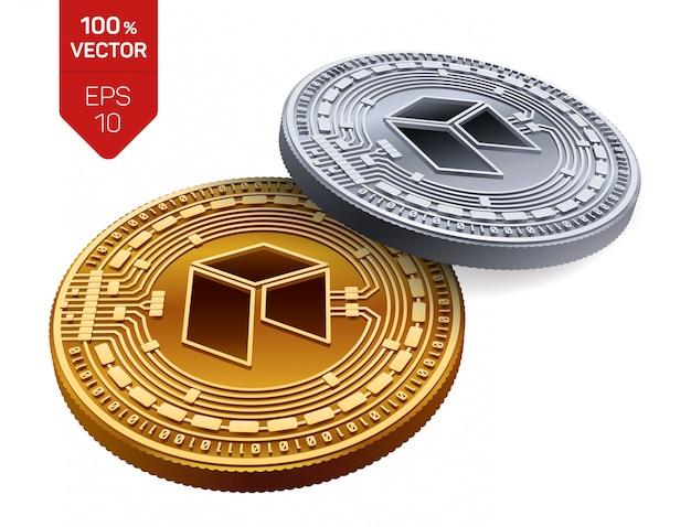 Kryptowaluty Złote I Srebrne Monety Z Neo Symbol Na Białym Tle. Darmowych Wektorów