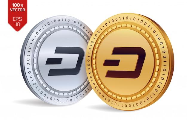 Kryptowaluty Złote I Srebrne Monety Z Symbolem Dash Na Białym Tle. Darmowych Wektorów