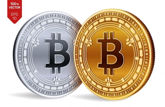 Kryptowaluty Złote I Srebrne Monety Z Symbolem Gotówki Bitcoin Na Białym Tle. Darmowych Wektorów