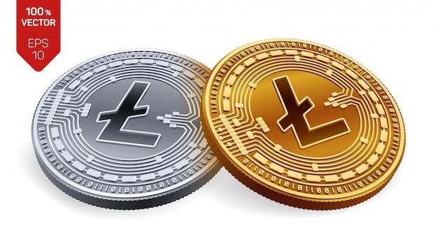Kryptowaluty Złote I Srebrne Monety Z Symbolem Litecoin Na Białym Tle. Darmowych Wektorów