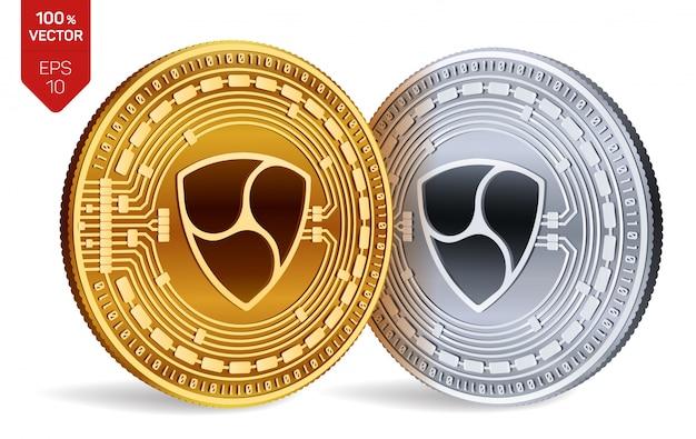 Kryptowaluty Złote I Srebrne Monety Z Symbolem Nem Na Białym Tle. Darmowych Wektorów