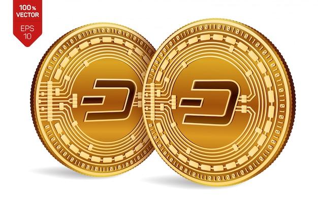 Kryptowaluty Złote Monety Z Symbolem Dash Na Białym Tle. Darmowych Wektorów