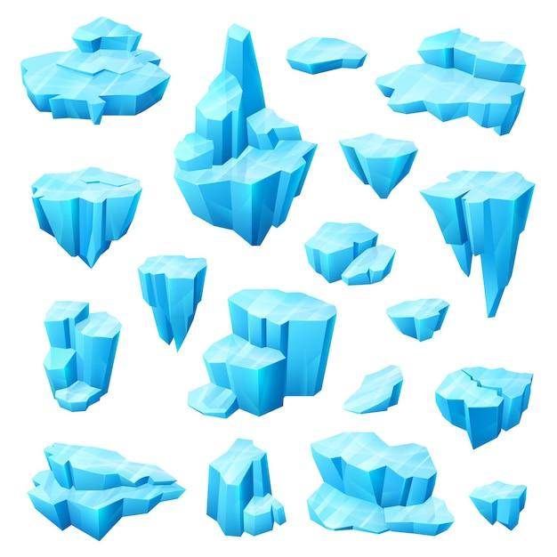 Kryształ Lodu, Lodowiec I Góra Lodowa Kreskówka Zestaw Zimowego Projektu Premium Wektorów