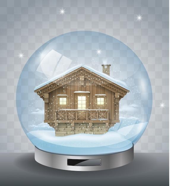 Kryształowa świąteczna Kula Z Domem Premium Wektorów