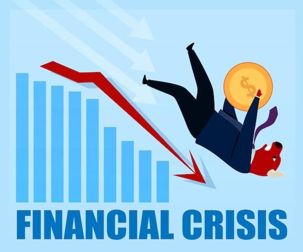 Kryzys Finansowy Znokautował Postać Bull Trader Premium Wektorów