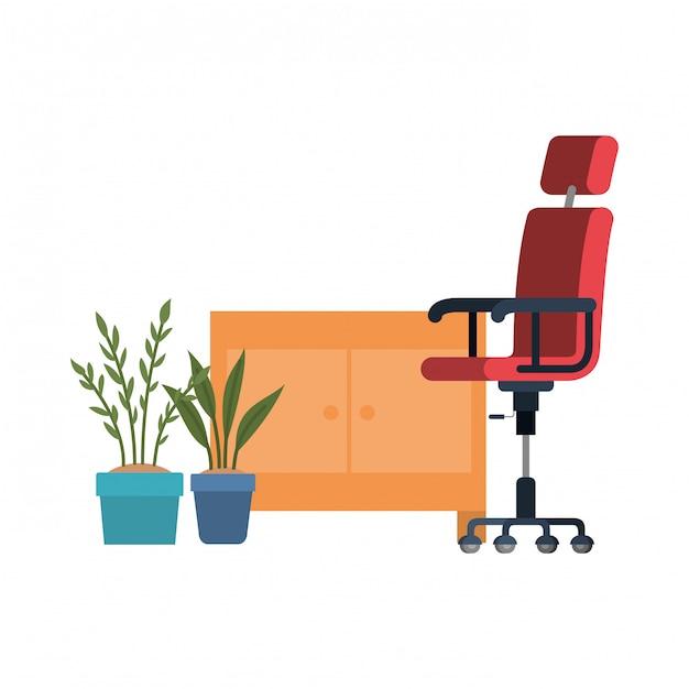 Krzesło Biurowe Na Białym Tle   Premium Wektor