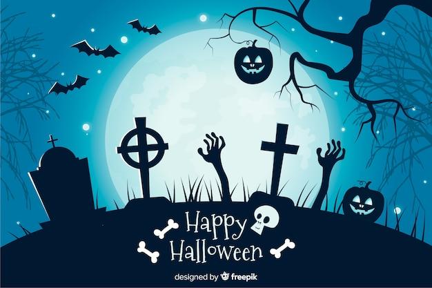 Krzyże na cmentarzu płaskim tle halloween Darmowych Wektorów