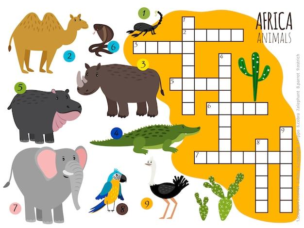 Krzyżówka Zwierząt Afrykańskich Premium Wektorów
