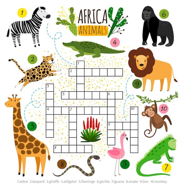 Krzyżówka Zwierząt Afryki. Premium Wektorów