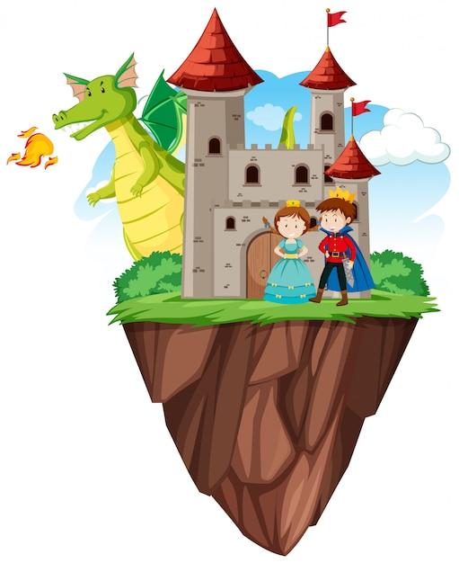 Książę i księżniczka na zamku Darmowych Wektorów