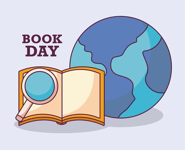 Książka dzień międzynarodowy z planet earth Premium Wektorów