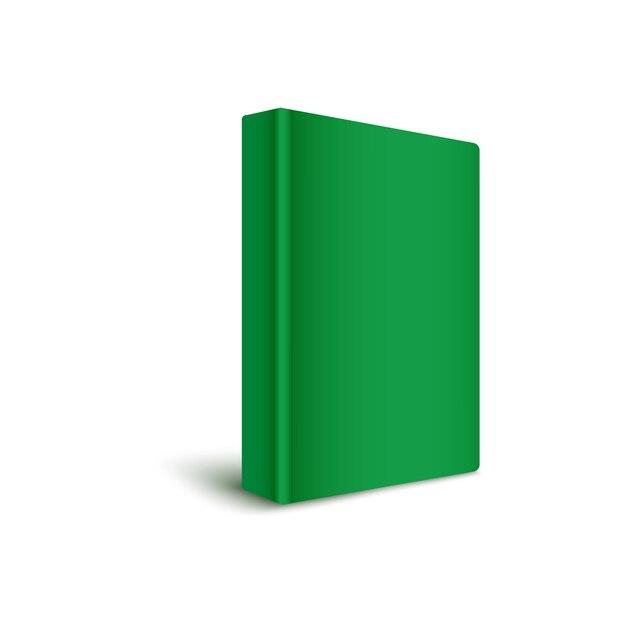 Książka Pusta Twarda Okładka Stojąca Pionowo W Kolorze Zielonym Realistyczna Ilustracja. Premium Wektorów