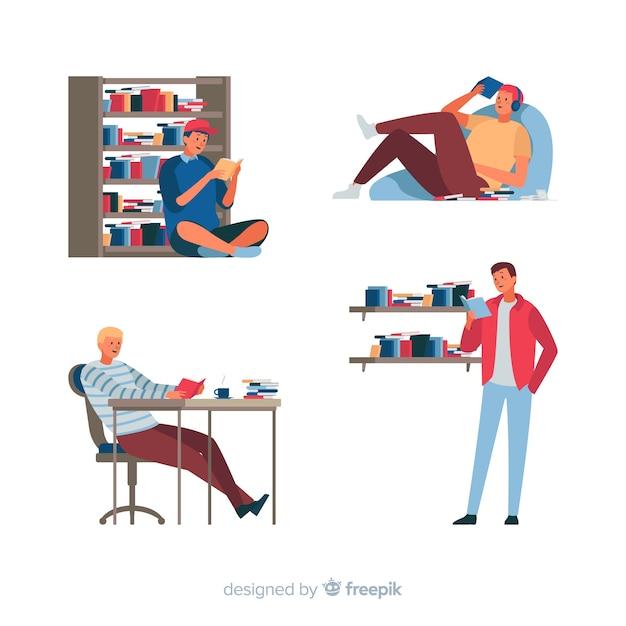 Książki do czytania i dla młodych ludzi Darmowych Wektorów